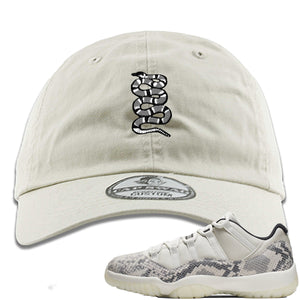 Air Jordan 11 Low Snakeskin Light Bone Sneaker Hook Up Coiled Snake Ivory Dad Hat