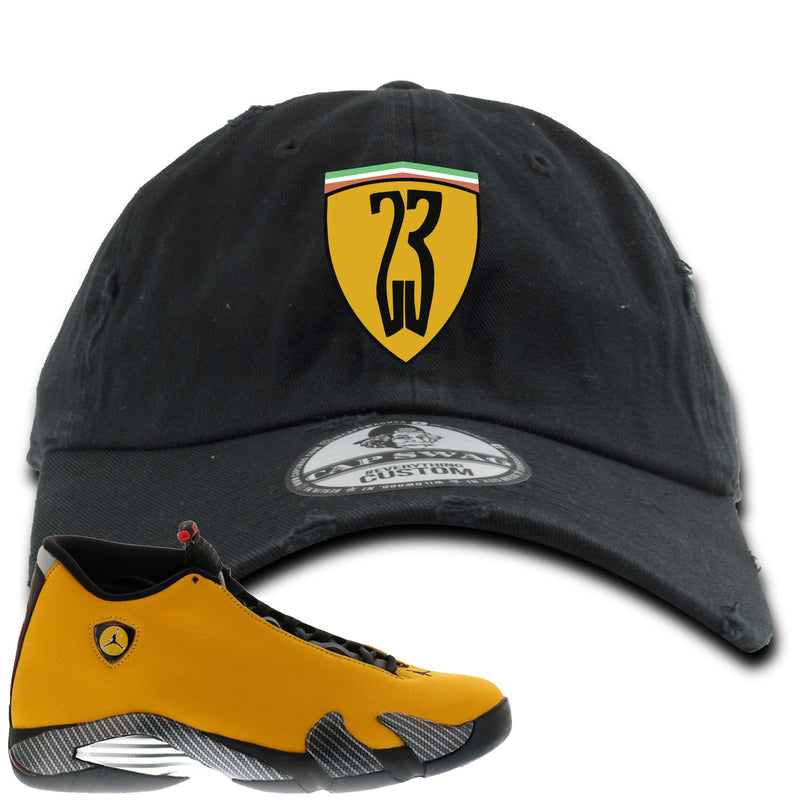 Reverse Ferrari 14s Sneaker Hook Up 23 Ferrari Logo Black Distressed Dad Hat