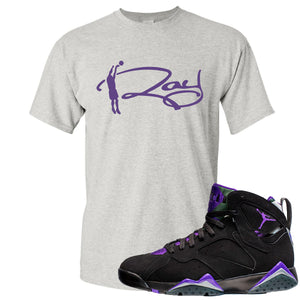 Air Jordan 7 Ray Allen Sneaker Hook Up Ray Signature Gray T-Shirt