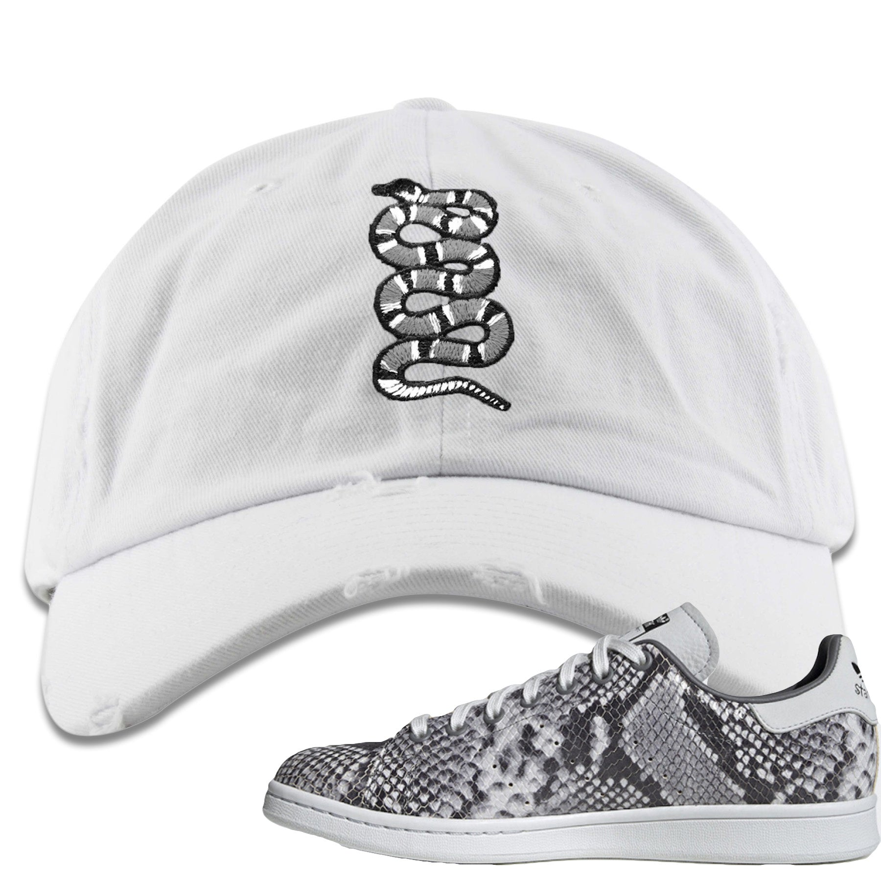 low priced deed7 ed92d Adidas Stan Smith Grey Snakeskin Sneaker Match Coiled Snake White  Distressed Dad Hat
