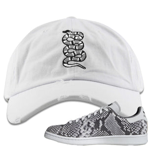 Adidas Stan Smith Grey Snakeskin Sneaker Hook Up Coiled Snake White Distressed Dad Hat