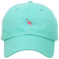 on the front of the flamingo pink mint dad hat, there is a flamingo logo embroidered on the front of a mint dad hat in pink and white