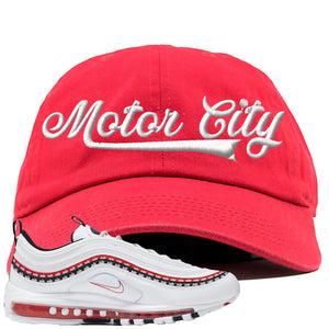 Nike Air Max 97 White University Red Sneaker Hook Up Motor City Red Dad Hat