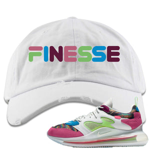 OBJ x Nike Air Max 720 Sneaker Hook Up Finesse White Distressed Dad Hat