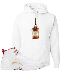 Air Jordan 12 FIBA Sneaker Hook Up Hennything is Possible Bottle White Hoodie