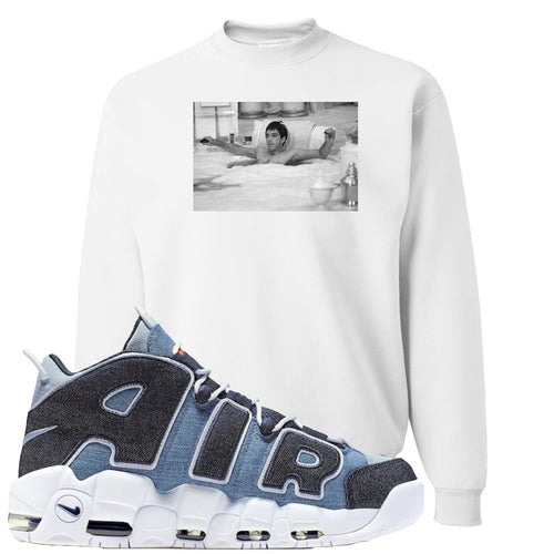 Nike Air More Uptempo Denim Sneaker Match Bathtub Scarface White Sweater