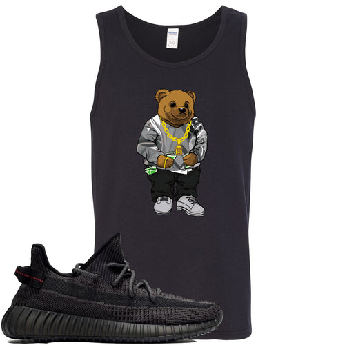 Adidas Yeezy Boost 350 v2 Black Sneaker Match Biggie Bear Black Mens Tank Top