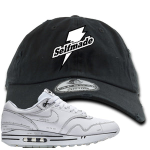Nike Air Max 1 Sketch to Shelf White Sneaker Hook Up Self Made Black Distressed Dad Hat
