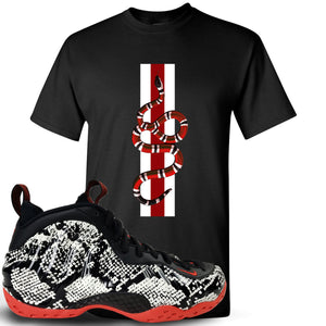 Foamposite One Snakeskin Sneaker Hook Up Coiled Snake Black T-Shirt