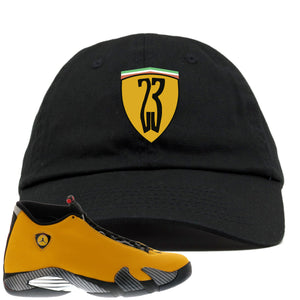 Reverse Ferrari 14s Sneaker Hook Up 23 Ferrari Logo Black Dad Hat