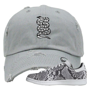 Adidas Stan Smith Grey Snakeskin Sneaker Hook Up Coiled Snake Light Grey Distressed Dad Hat