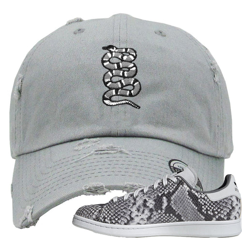 Adidas Stan Smith Grey Snakeskin Sneaker Match Coiled Snake Light Grey Distressed Dad Hat