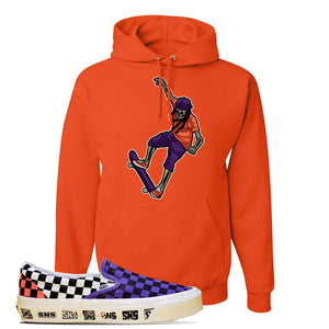 Vans Slip On Venice Beach Pack Hoodie | Orange, Skeleton Skateboarder