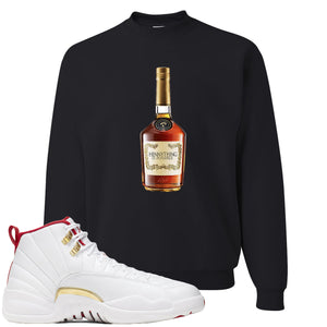 Air Jordan 12 FIBA Sneaker Hook Up Hennything is Possible Bottle Black Sweater