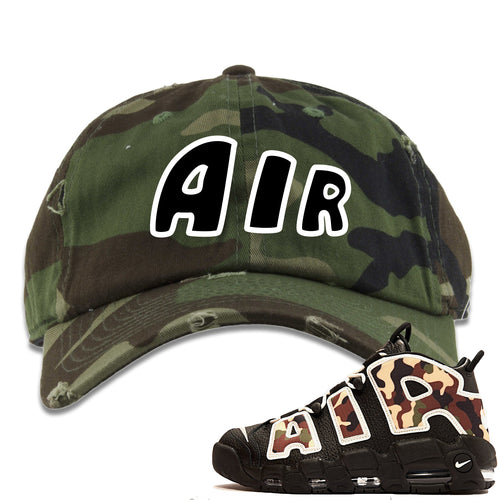 Nike Air More Uptempo Camo Sneaker Match Air Camouflage Distressed Dad Hat