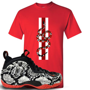 Foamposite One Snakeskin Sneaker Hook Up Coiled Snake Red T-Shirt