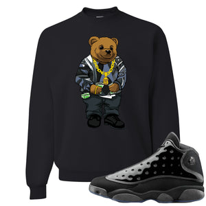 Air Jordan 13 Cap and Gown Sneaker Hook Up Sweater Bear Black Sweater