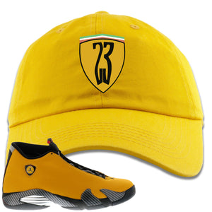 Reverse Ferrari 14s Sneaker Hook Up 23 Ferrari Logo Gold Yellow Dad Hat
