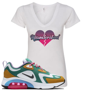 WMNS Air Max 200 Mystic Green Sneaker Hook Up Misunderstood White Women V-Neck T-Shirt