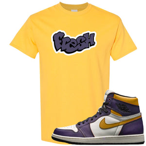 Nike SB x Air Jordan 1 OG Court Purple Sneaker Hook Up Fresh Yellow T-Shirt