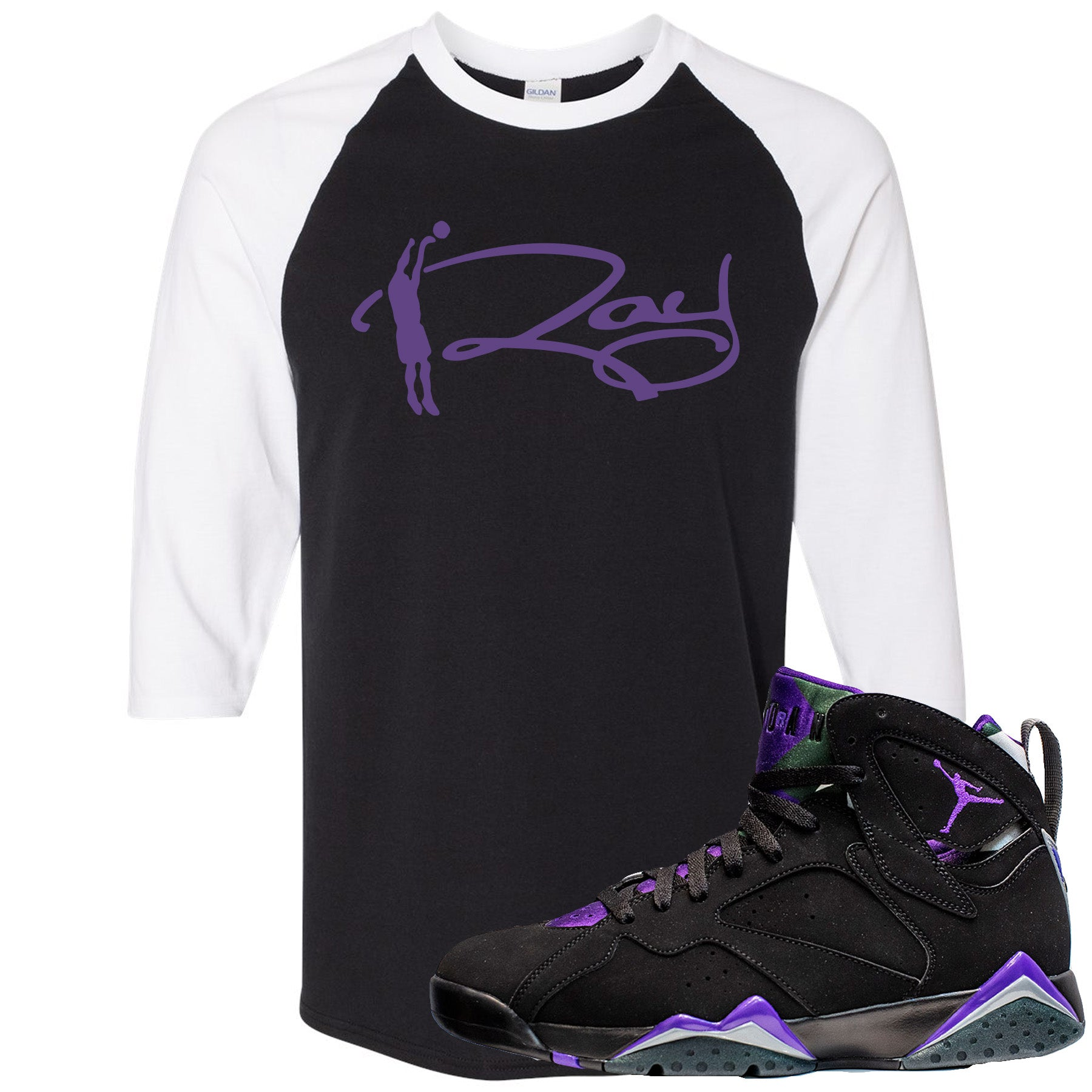 Air Jordan 7 Ray Allen Sneaker Hook Up Ray Signature Black and White Raglan T Shirt