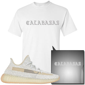 Adidas Yeezy Boost 350 v2 Lundmark Reflective Sneaker Hook Up Calabasas White T-Shirt