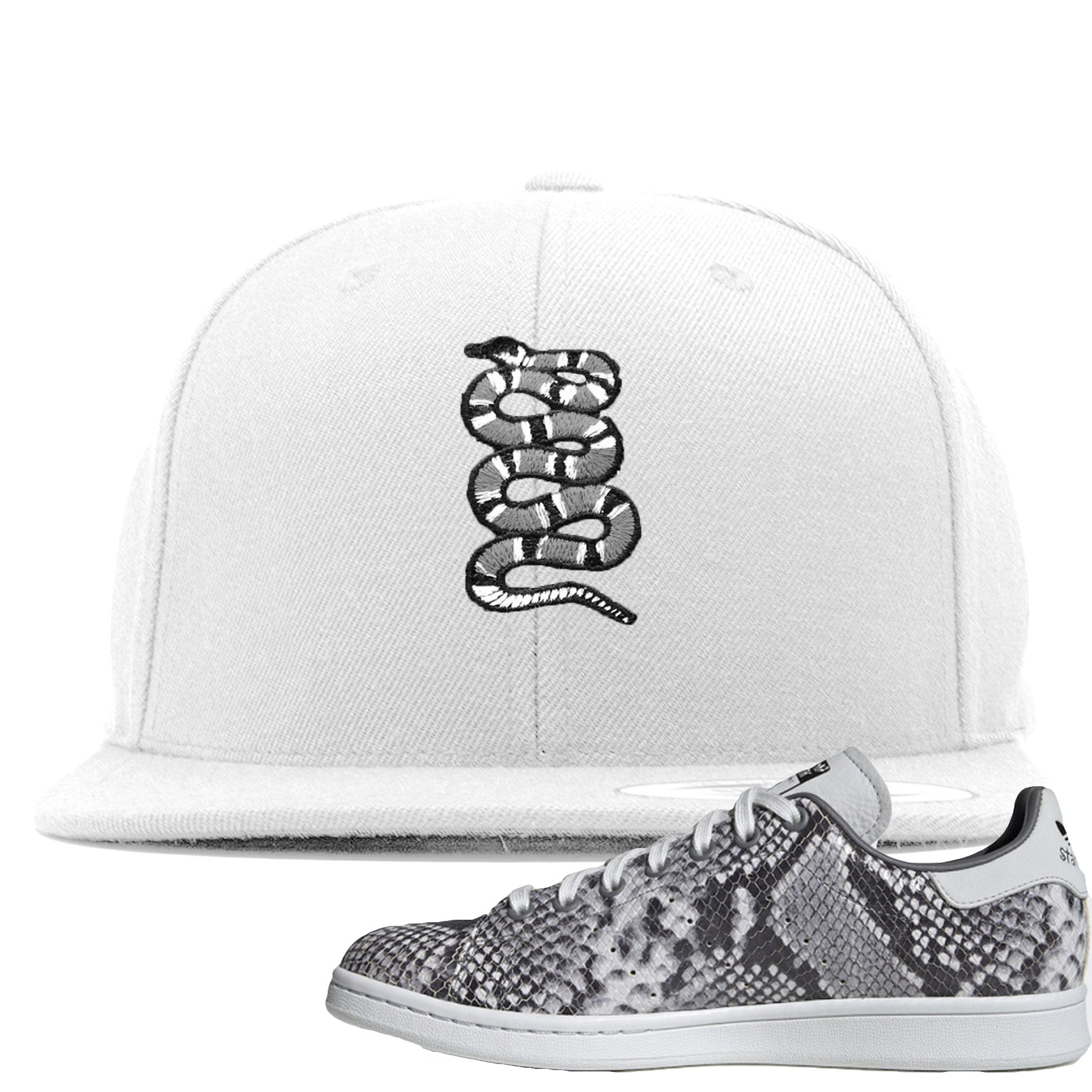online retailer 54403 47614 Adidas Stan Smith Grey Snakeskin Sneaker Match Coiled Snake White Snapback
