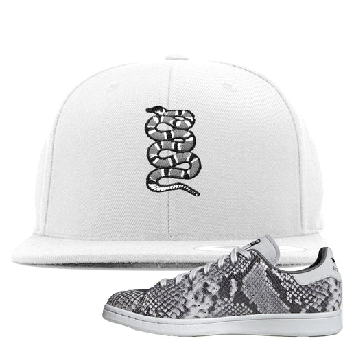 Adidas Stan Smith Grey Snakeskin Sneaker Match Coiled Snake White Snapback