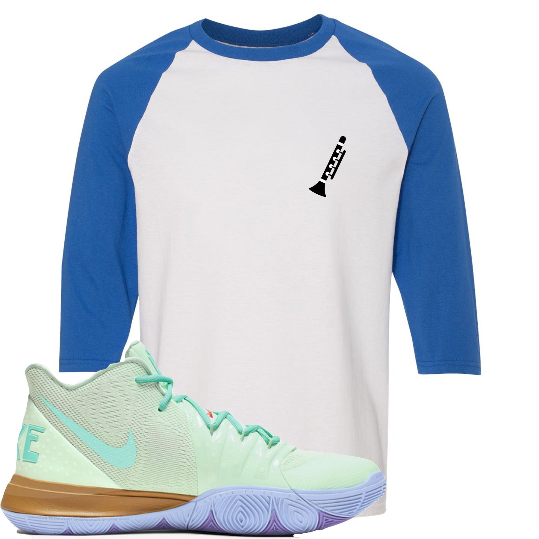 new styles a55a9 9ae65 Nike Kyrie 5 Squidward Sneaker Match Clarinet White and Blue Raglan T-Shirt