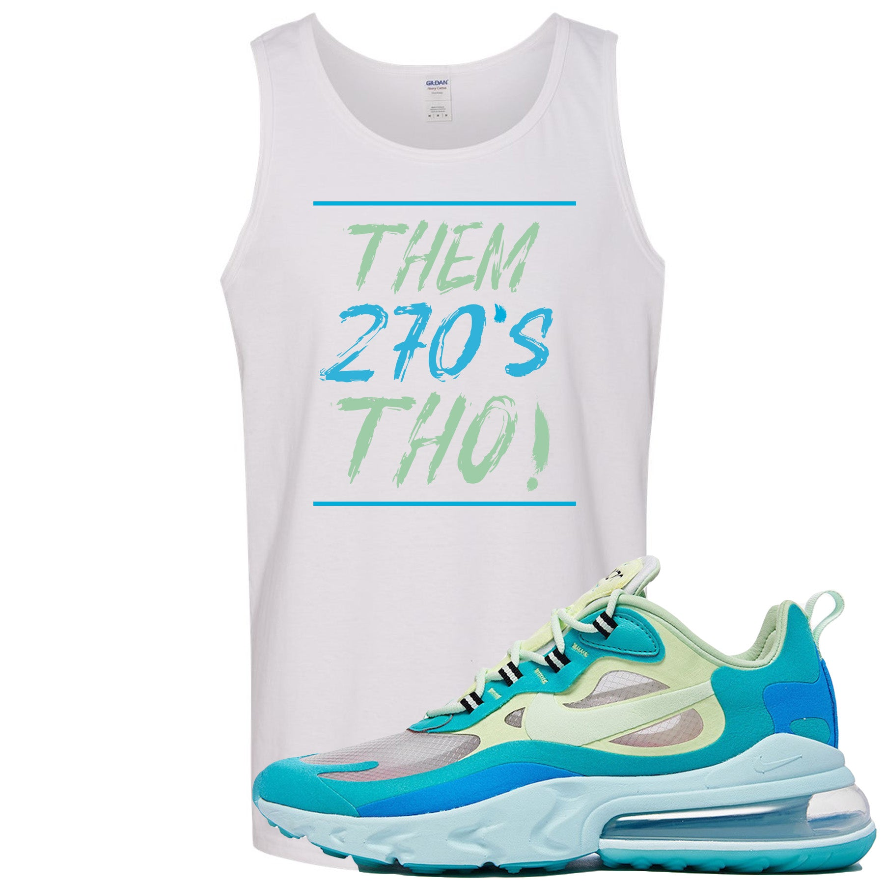separation shoes 5d625 e4f46 Nike Air Max 270 React Hyper Jade Sneaker Match Them 270s Tho White Mens  Tank Top