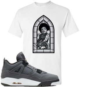 Air Jordan 4 Cool Grey 2019 Sneaker Hook Up Stained Glass Baby White T-Shirt