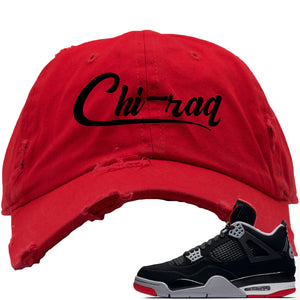 This red and black hat will match great with your Air Jordan 4 Bred shoes