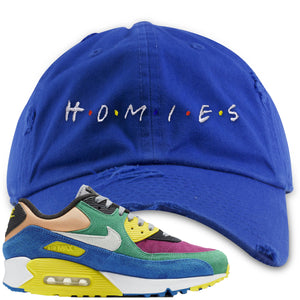 Nike Air Max 90 Viotech 2.0 Sneaker Hook Up Homies Blue Distressed Dad Hat