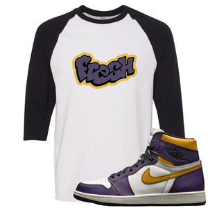 Nike SB x Air Jordan 1 OG Court Purple Sneaker Hook Up Fresh White and Black Raglan T-Shirt