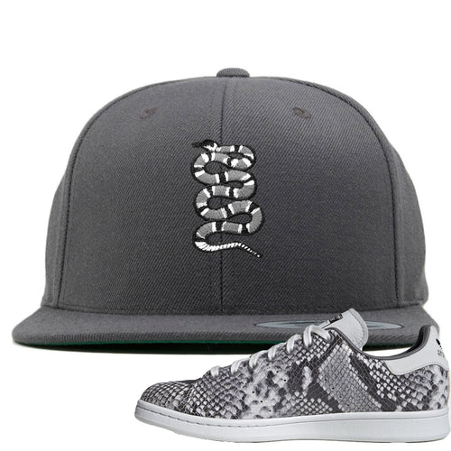 Adidas Stan Smith Grey Snakeskin Sneaker Match Coiled Snake Dark Gray Snapback
