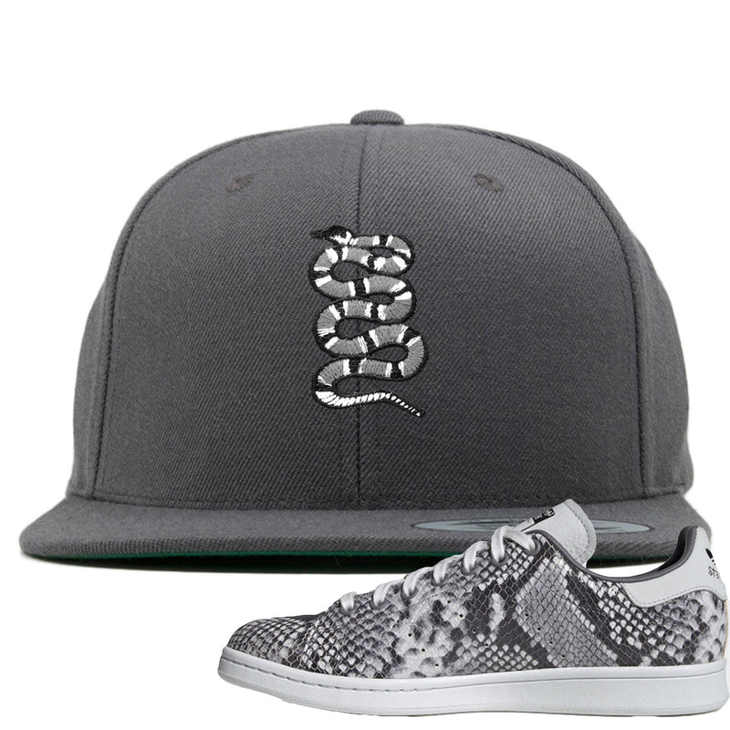 Adidas Stan Smith Grey Snakeskin Sneaker Hook Up Coiled Snake Dark Gray Snapback