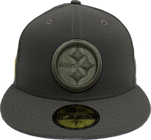 on the front of the pittsburgh steelers fitted cap, the steelers logo is embroidered in green