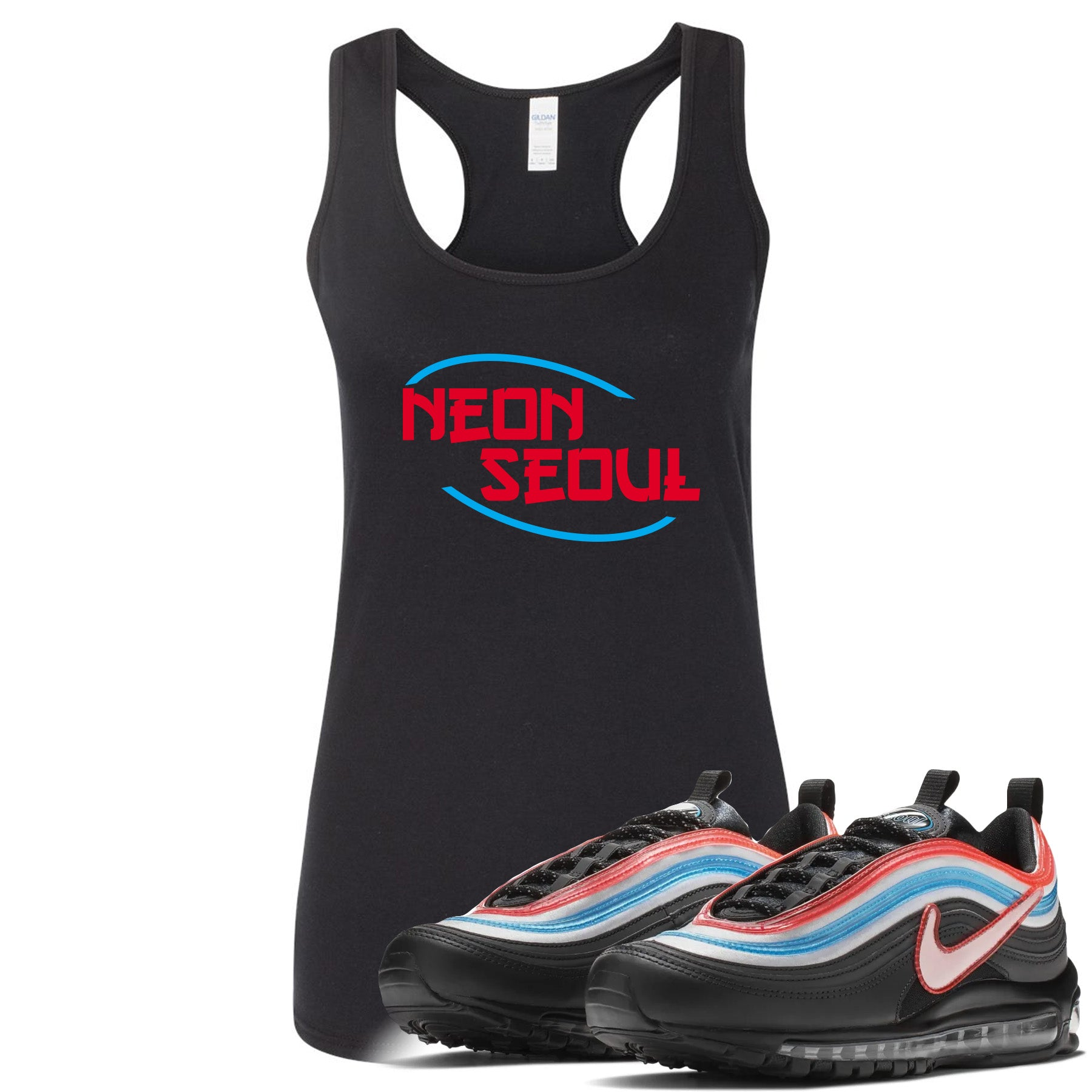new style 72771 d4067 Air Max 97 Neon Seoul Sneaker Match Neon Seoul in English Black Womens Tank  Top