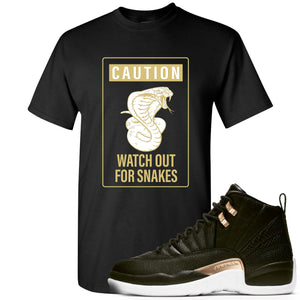 Jordan 12 WMNS Reptile Sneaker Hook Up Caution Snake Black T-Shirt