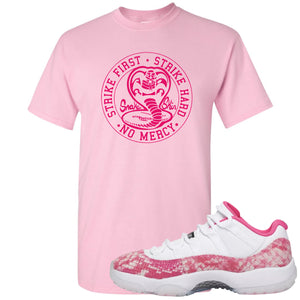 Air Jordan 11 Low WMNS Pink Snakeskin Sneaker Hook Up Cobra Snake Light Pink T-Shirt