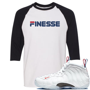 Nike WMNS Air Foamposite One USA Sneaker Hook Up Finesse White and Black Raglan T-Shirt