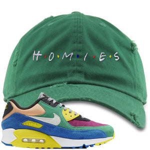 Nike Air Max 90 Viotech 2.0 Sneaker Hook Up Homies Kelly Green Distressed Dad Hat