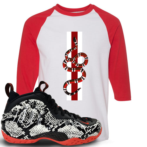 bcadfde5b48915 Foamposite One Snakeskin Sneaker Match Coiled Snake Red and White Ragalan T- Shirt