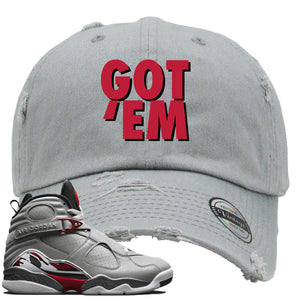 Air Jordan 8 Reflections of a Champion Sneaker Hook Up Got Em Gray Distressed Dad Hat