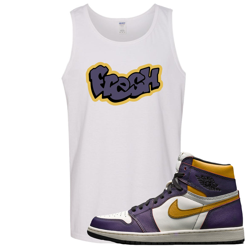 Nike SB x Air Jordan 1 OG Court Purple Sneaker Match Fresh White Mens Tank Top