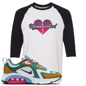 WMNS Air Max 200 Mystic Green Sneaker Hook Up Misunderstood White and Black Raglan T-Shirt
