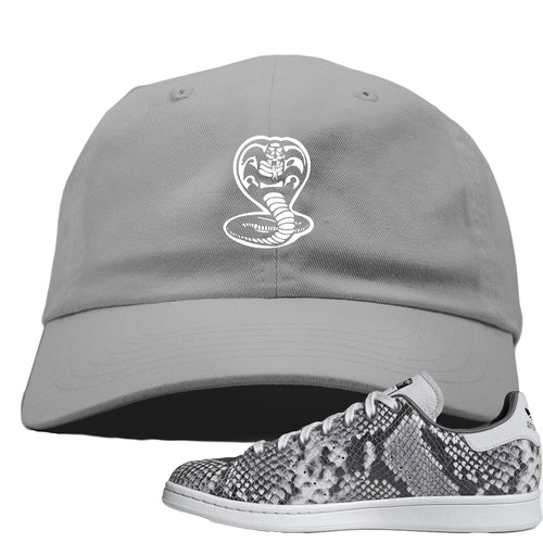 Adidas Stan Smith Grey Snakeskin Sneaker Match Cobra Snake Light Grey Dad Hat