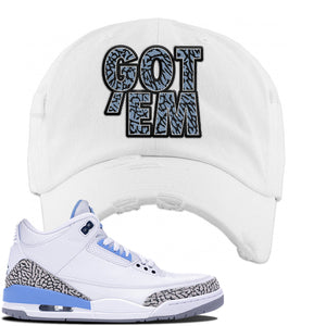 Jordan 3 UNC Sneaker White Distressed Dad Hat | Hat to match Nike Air Jordan 3 UNC Shoes | Got Em