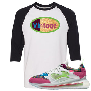OBJ x Nike Air Max 720 Sneaker Hook Up Vintage Logo White and Black Raglan T-Shirt