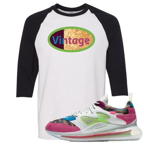 OBJ x Nike Air Max 720 Sneaker Match Vintage Logo White and Black Raglan T-Shirt